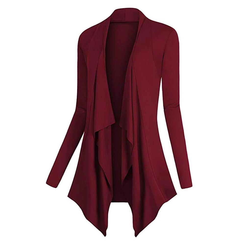 Sweater Women Solid Drape Front Open Irregular Casual