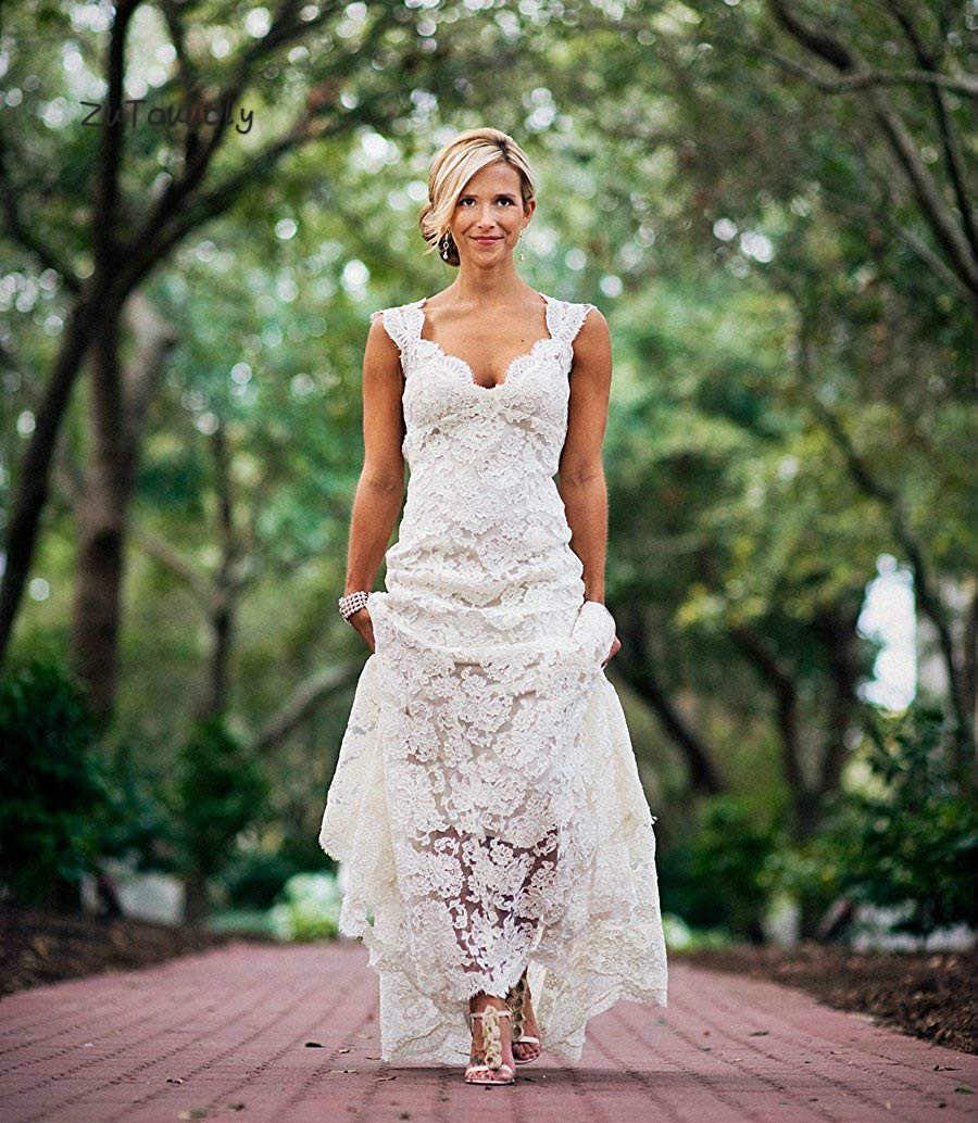 Australia Boho Wedding Dress Open Back Full Lace Summer Bohemian Wedding Dresses 2019 Simple Beach Women Wedding Dress Cheap Aliexpress,Plus Size Rental Wedding Dresses