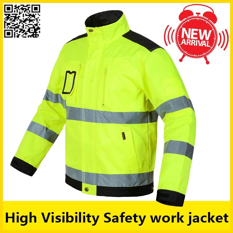 Bauskydd alta visibilidade masculino ao ar livre topos workwear multi-bolsos de segurança reflexiva jaqueta de trabalho frete grátis