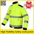 Alta visibilidade workwear Dos Homens ao ar livre Tops multi-bolsos de segurança reflexiva jaqueta de trabalho frete grátis
