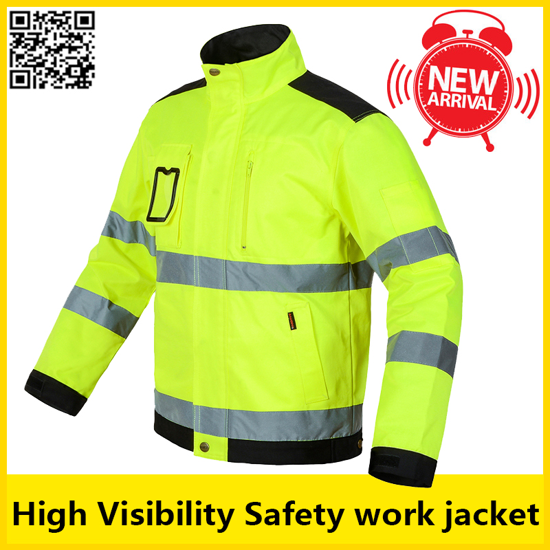 Bauskydd High Visibility Men Outdoor Tops Workwear Multi-pockets  Safety Reflective Work Jacket  Free Shipping