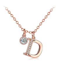 цена на Necklace Women Charm D word Long Necklace Rose Gold Color Fashion Cubic zirconia Girl Pendant Jewelry Party Wedding Gift