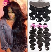 Mink Brazilian Virgin Hair Body Wave 13×4 Ear To Ear Lace Frontal Closure With Bundles Brazilian Body Wave With Lace Frontal 1B