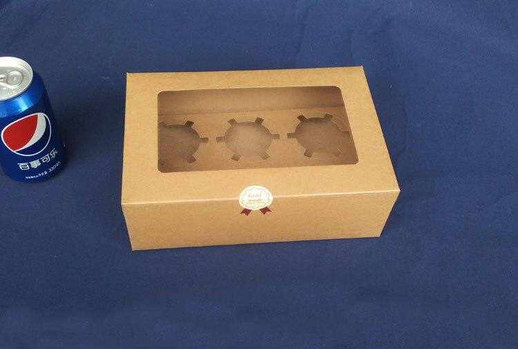30 шт. 24*15.5*7.5 см 6 сетки, коричневый упаковка крафт Бумага Muffin окно для конфет  торт  десерт  партия упаковочные коробки