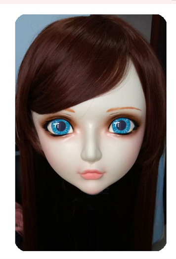 (DM038) Women/Girl Sweet Resin Half Head Kigurumi BJD Mask <font><b>Cosplay</b></font> Japanese <font><b>Anime</b></font> Lifelike Lolita Mask Crossdressing <font><b>Sex</b></font> <font><b>Doll</b></font> image