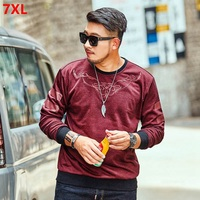 Spring new fashion tide big code 7XL casual plus size bottoming shirt 6XL round neck long sleeved Sweatshirts