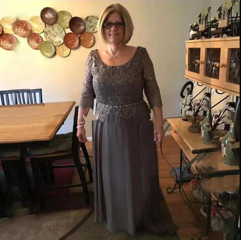 Plus Size Gray Mother Of The Bride Dresses Scoop Long Sleeves Lace Top Zipper Back Designed For Wedding Evening Parties Longo