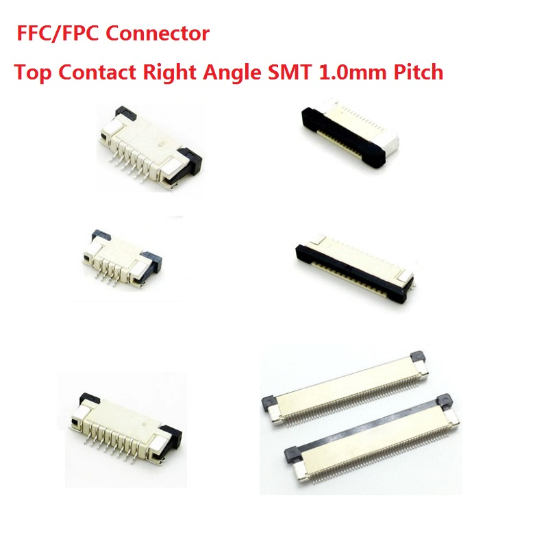 100pcs FFC / FPC connector 1.0 <font><b>mm</b></font> 4 Pin 5 6 <font><b>7</b></font> 8 10 <font><b>12</b></font> 14 16 18 20 22 24 26 18 30 P Top Contact Right angle SMD / SMT ZIF image