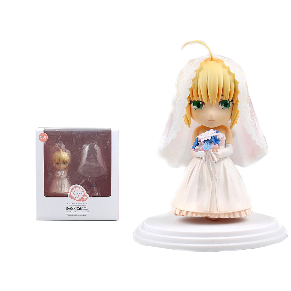 ФОТО gsc nendoroid # 01 fatestaynight saber 10th anniversary wedding dress pvc action figure collection model toy 11cm
