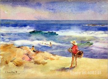 Oil painting beach scene Boy on the Sand Joaquin Sorolla y Bastida reproduction art Handmade High Quality