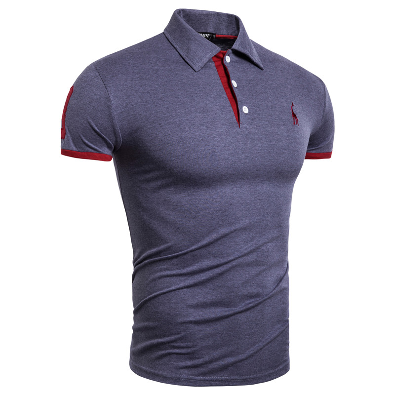 Dropshipping New Brand Mens   Polo   Solid Patchwork Epaulet Embroidery   Polo   Shirt Men Casual 100% Cotton   Polos   Men 14 Colors