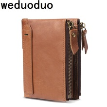 Weduoduo Men Wallet 100% Genuine Leather Short Double Zipper Casual Purse Standard Holders Wallets