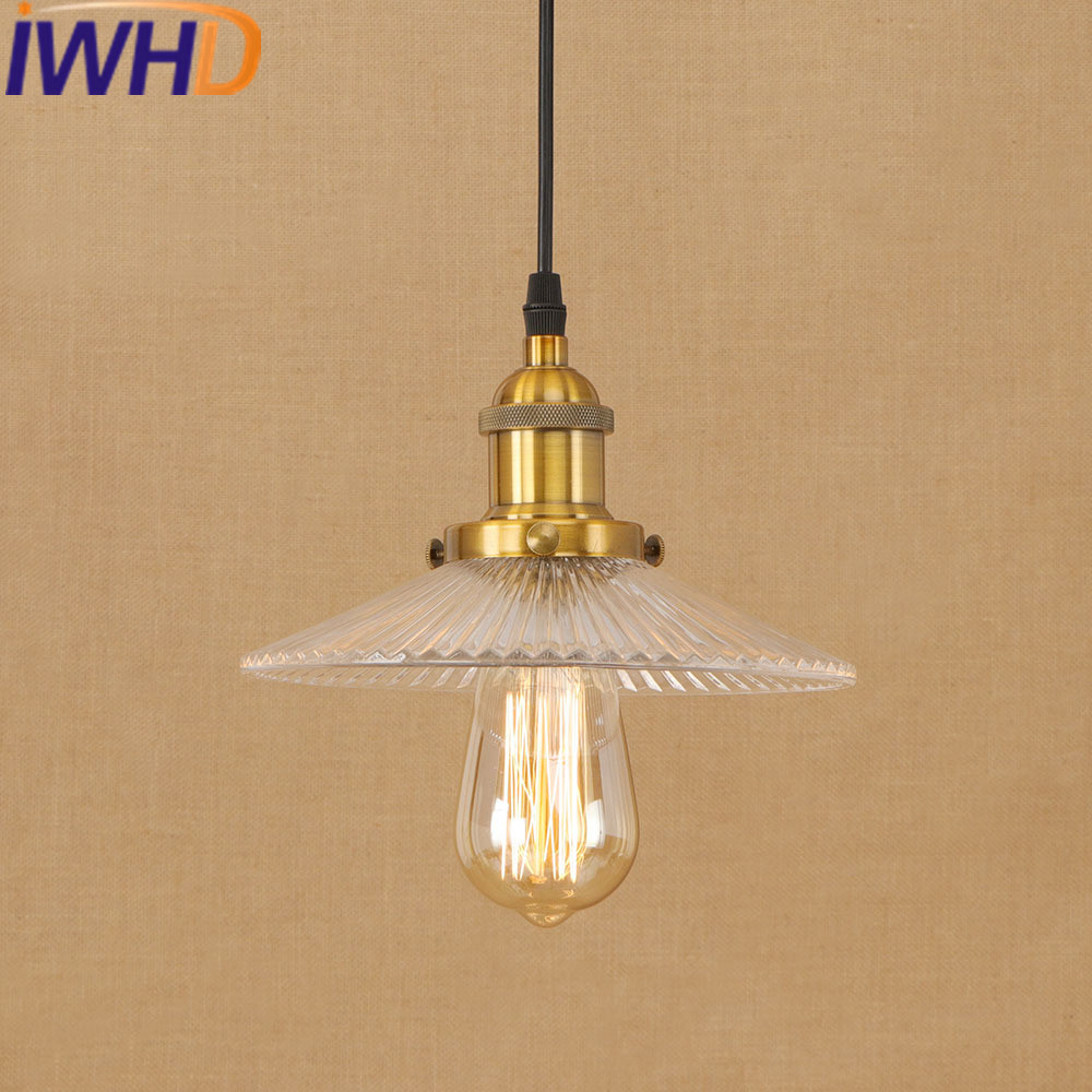 IWHD Glass Home Lighting Fixtures Vintage Pendant Light LED Loft Industrial Hanging Lamp Umbrella e27 220V For Decor Hanglamp iwhd iron vintage retro hanging lamp style loft industrial pendant light led home lighting fixtures kitchen glass iluminacion