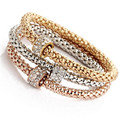 New 3Pcs/set  Round  Bracelet Rhinestone Charm Gold Silver Rose Gold Heart Party Jewellery Bracelets&Bangles For Women  Love