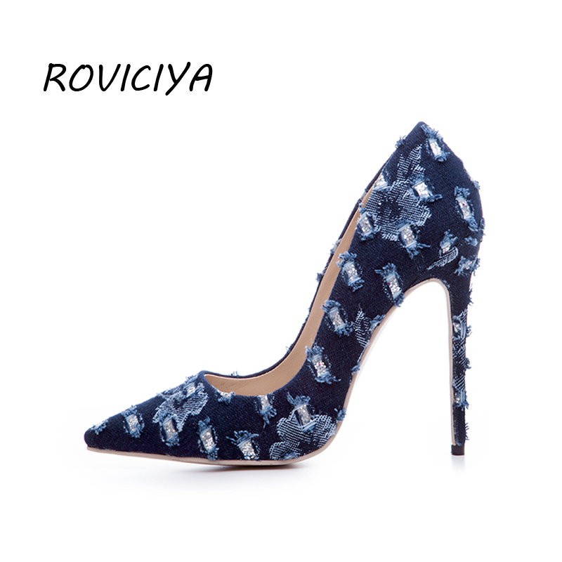 Women Pumps Sexy Extreme High Heels 12cm Women Party Shoes Stiletto Pointed Toe Blue Denim with hole plus size WJ03 ROVICIYA gaozze fashion polka dot mesh women sexy stiletto high heel shoes pointed toe party shoes pumps women heels pumps 2018 spring
