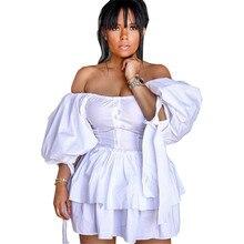 White slash neck lantern sleeve layered dress solid ruffles layers solid dress summer single button tiered dress