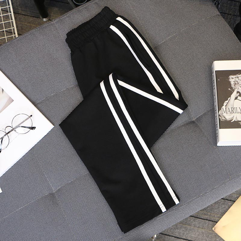 5XL Big Size 2020 Spring And Summer Women Casual Harem Pants Black White Striped Printed Side Pant Ladies Loose Trousers C1114