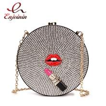 Luxury Diamond Lipstick  Acrylic Party Evening Bag Clutch Bag for Women Fashion Shoulder Chain Bag Ladies Handbag Purses