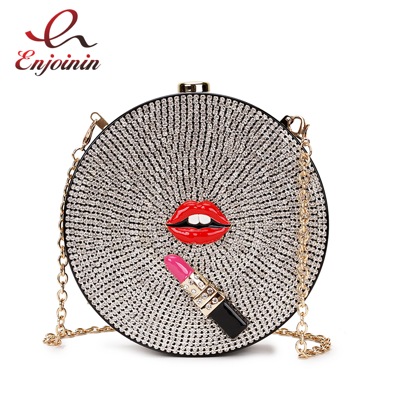Luxury Diamond Red Lips Lipstick  Acrylic Fashion Ladies Party Handbags Dinner Bag Shoulder Bag Crossbody Mini Purse Bolsa Flap
