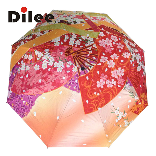 Oem Umbrella Product Custom Made Flower Beautiful Pattern Women S Three Folding Chrismas Gift Dl16954