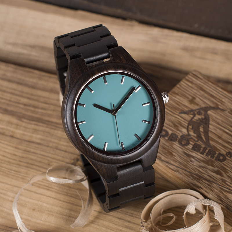 BOBO BIRD Men Watches Ebony Wooden Quartz Watch With Japan Movement Clock in wood Gift Box Can Customize Logo saat erkek bobo bird full round vintage ebony wood case men watch with wood face with ebony wood strap japanese movement quartz in gift box