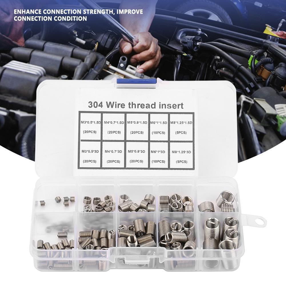 150pcs Helicoil Stainless Steel Thread Repair Coiled Wire Insert Kit M3 M4 M5 M6 M8 With Box _Wk