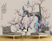 beibehang New Chinese Fashion Classic Wallpaper Ink Plum Blossom and Magpie Play TV Background Wall papel de parede 3d wallpaper