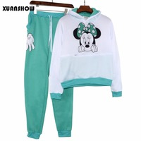 XUANSHOW-Women-Set-Casual-Sportswear-Cute-Ear-Cartoon-Mouse-Printed-With-Hooded-long-sleeved-Tracksuit-3