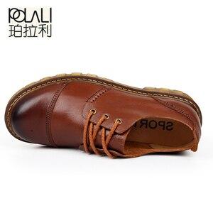 Image 3 - Polali男性の革靴カジュアル新2020本革シューズメンズオックスフォードファッションレースアップドレスシューズ屋外作業靴sapatos