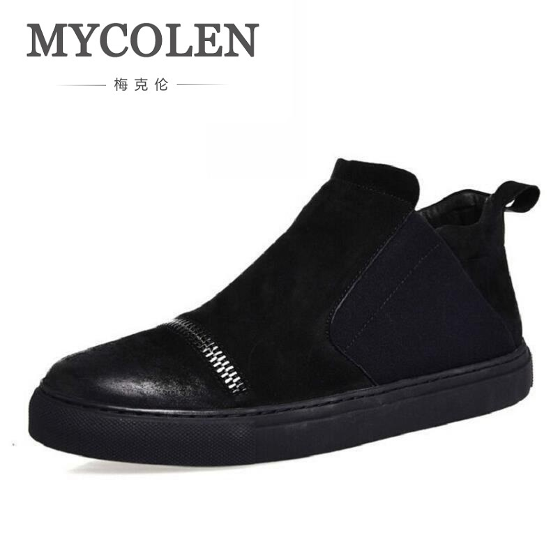 MYCOLEN Slip On Causal Boots Genuine Leather Mens Winter Black Ankle Boots Personality Zipper Men Winter Boots Chaussures Homme