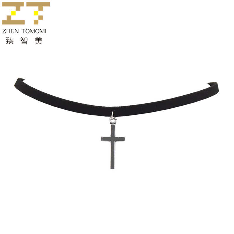 Hot New Fashion Pure Black Velvet Leather Torques Retro Cross Pendants Maxi Statement Chokers Necklace For Women 2019 Jewelry