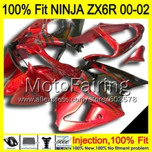 8Gifts Injection mold Body For KAWASAKI NINJA ZX-6R 00-02 1HM10 ZX 6R ZX6R 00 01 02 ZX636 636 2000 2001 2002 Fairing red black