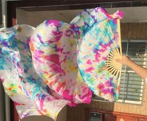 Image 3 - Groothandel Tie Dye Pure Zijde Fan Sluiers China Traditionele Bamboe Lange Fan Voor Bellydancer Oosterse Dans Praktijk Gratis Verzending