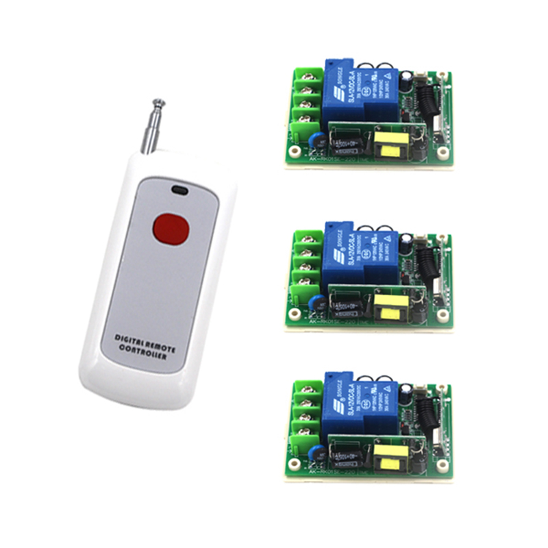 AC 85V~250V 30A 1CH RF 315MHZ/ 433MHZ Remote Control Switch System 3 Relay Board + 1 Remote Controller 4141 rf 2 channel 315mhz 433mhz 85v 250v wireless remote control relay switch 2 radio transmitter and 1 receiver controller system