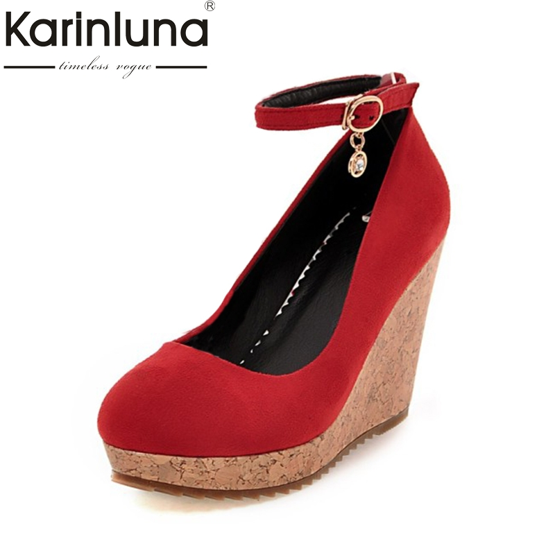 KarinLuna Women's Ankle Strap Buckle Up High Heel Wedge Round Toe Platform Pumps Shoes Woman Big size 33-41 nayiduyun women genuine leather wedge high heel pumps platform creepers round toe slip on casual shoes boots wedge sneakers