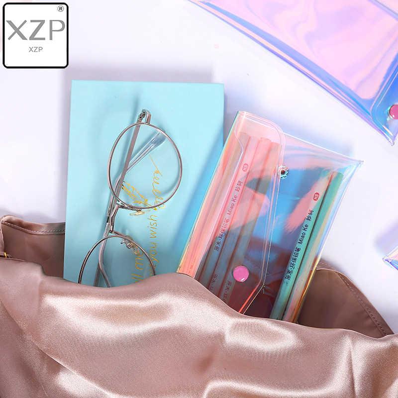 Xzp bolsa de moedas transparente, carteira feminina com laser de pvc, para dinheiro, bolsa de zíper