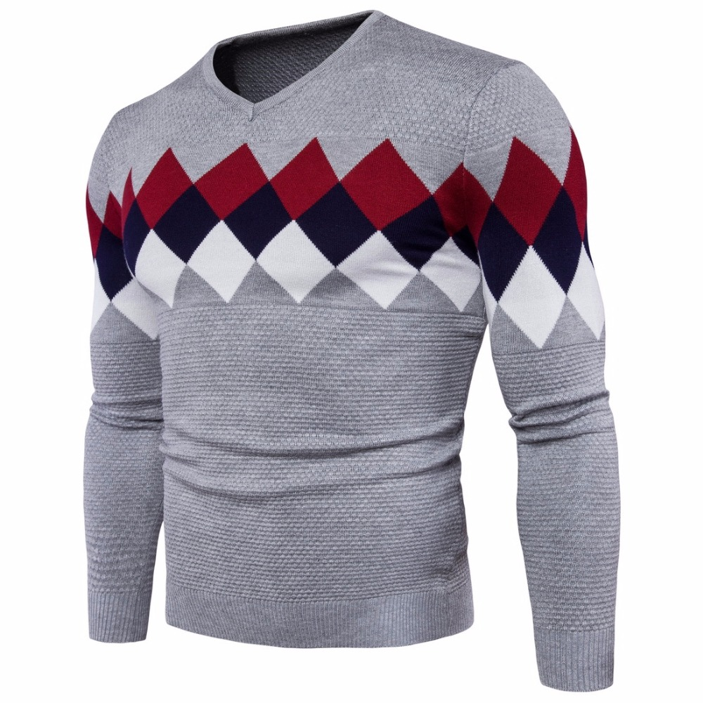 2019 Fashion Men's Stitching Color Slim Long Sleeve Sweater For Male Autumn Winter Men's Cotton V-neck Lattice-style Sweaters