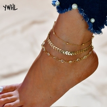 2019 popular new three-layer Summer beach womens anklets bronze sequins retro folk jewelry