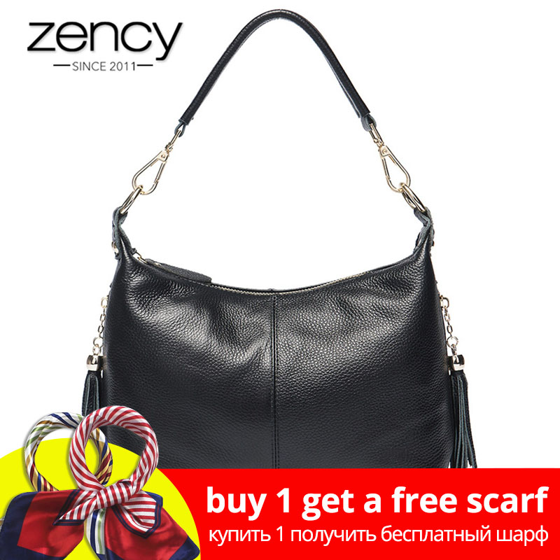 Zency Fashion Kvinna Shoulder Bag 100% Natural Leather Women Handväska Med Tassel Lady Messenger Crossbody Purse Små Väskor Tote