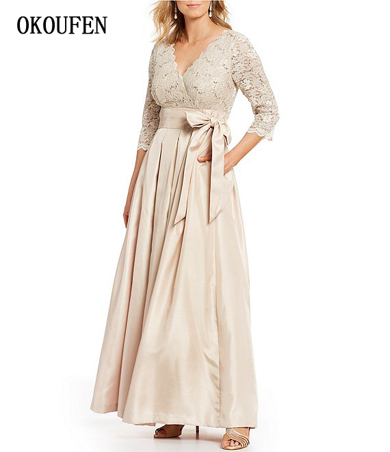 Mother Of The Bride/Groom Dresses For Wedding 2019 Champagne Satin Lace Long Sleeves V-Neck Kurti Vestidos De Madrinha Farsali
