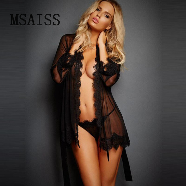 a9cf2c1e894 New Erotic Sleepwear Women Lace Sheer Lingerie Sexy V-Neck Nightwear Robes  with Women robe