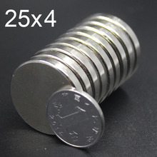 10Pcs 25x4 Neodymium Magnet 25mm x 4mm N35 NdFeB Small Round Super Powerful Strong Permanent Magnetic imanes Disc 25x4 цены
