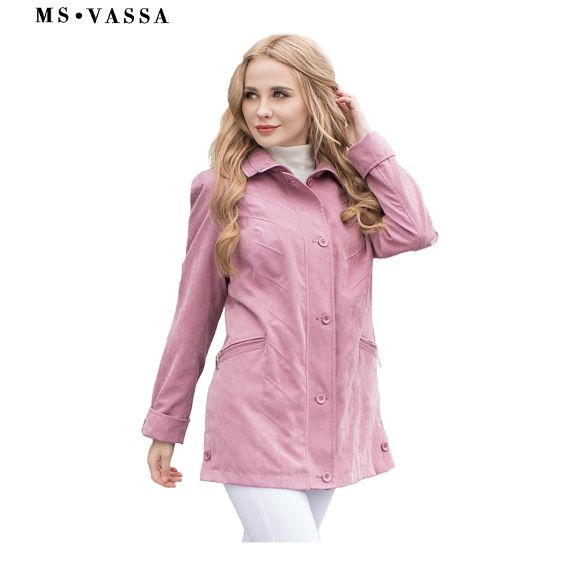 MS VASSA Spring Jackets Women 2019 New Ladies coats micro moss classic Jackets turn down collar plus size 5XL 7XL outerwear-in Jackets from Women's Clothing    1