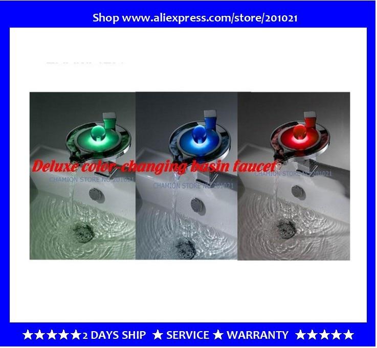 100% Медь LED Водопад кран термостат Цвет меняющейся горячей и холодной бассейна кран, искусство и запатентованная