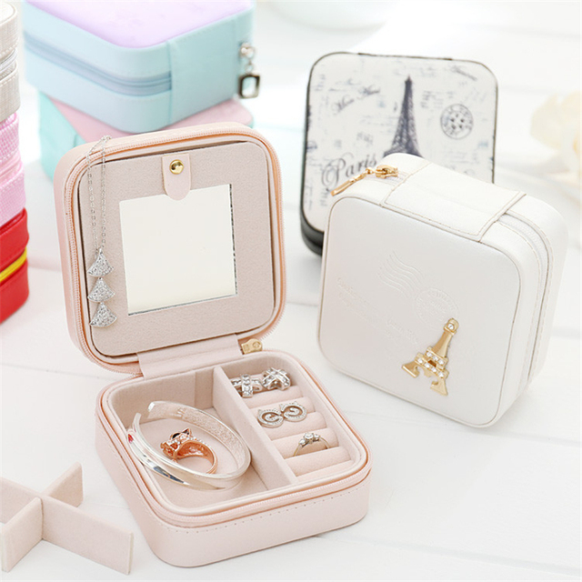 Jewelry Box Travel Comestic Jewelry Casket Organizer Makeup Lipstick Storage Box Beauty Container Necklace Birthday Gift 2