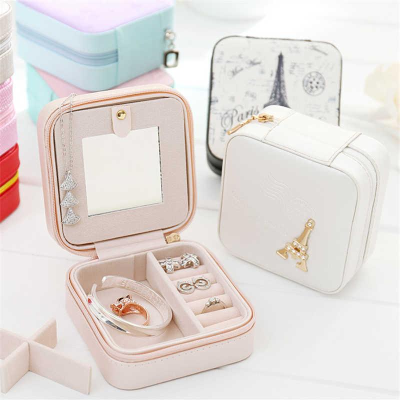 Kotak Perhiasan Perjalanan Komersial Perhiasan Peti Mati Organizer Makeup Lipstik Kotak Penyimpanan Kecantikan Wadah Kalung Hadiah Ulang Tahun