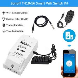 Image 1 - Sonoff TH10/16 akıllı Wifi anahtarı ev otomasyon kiti + Si7021/AM2301 sıcaklık nem sensörü Alexa ile çalışır google ev