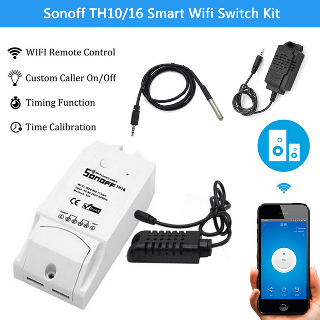 Sonoff TH10/16 akıllı Wifi anahtarı ev otomasyon kiti + Si7021/AM2301 sıcaklık nem sensörü Alexa ile çalışır google ev