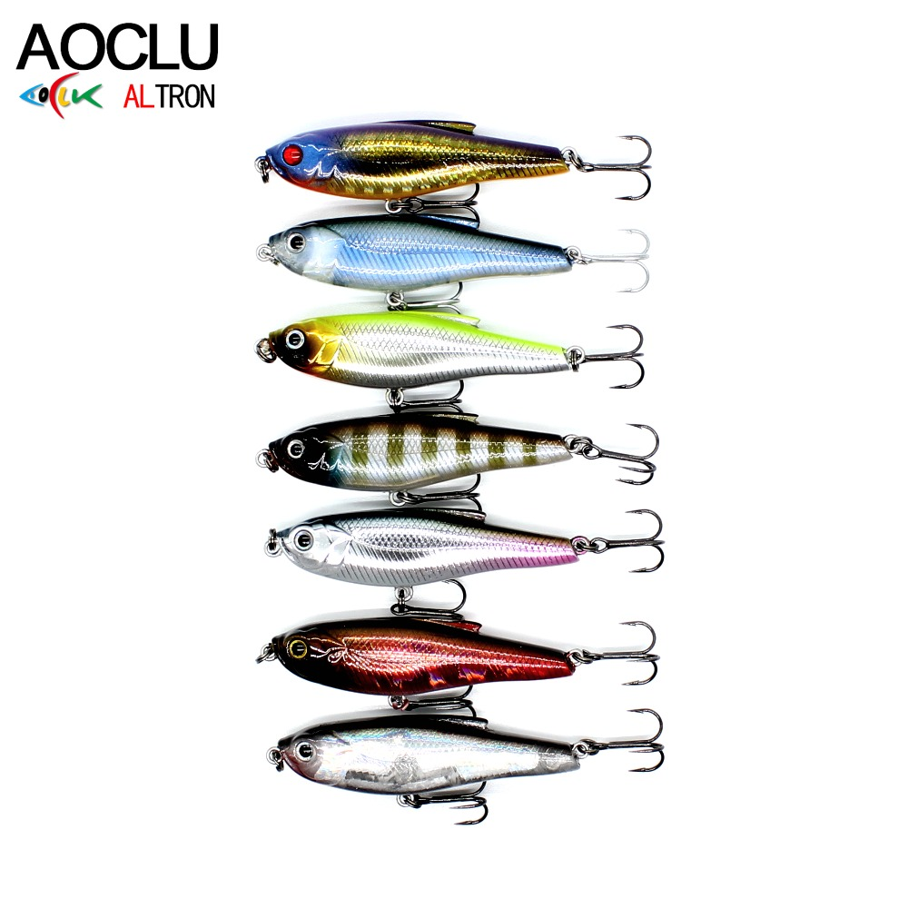 AOCLU wobbler Super Quality 8 Kleuren 48mm Hard Aas Minnow Potlood Popper StiCk Vissen lokt Bass Water Zout 12 # VMC haken