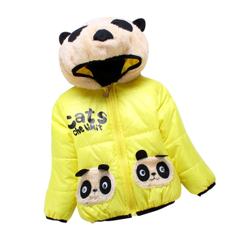 Baby Girls Boys Jacket Winter Warm Thick Cotton Cartoon Panda Hooded Kids Coat Children Lovely Outerwear Kids Clothing